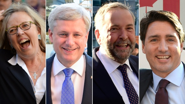 Liberal leader Justin Trudeau, from left, Green Party leader Elizabeth May, NDP Leader Thomas Mulcair and Conservative Leader Stephen Harper had a slow few days leading up to the first debate of the campaign on Thursday. (Canadian Press )