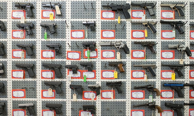 Guns on display in Roseburg, Oregon. Photograph: AFP/Getty Images